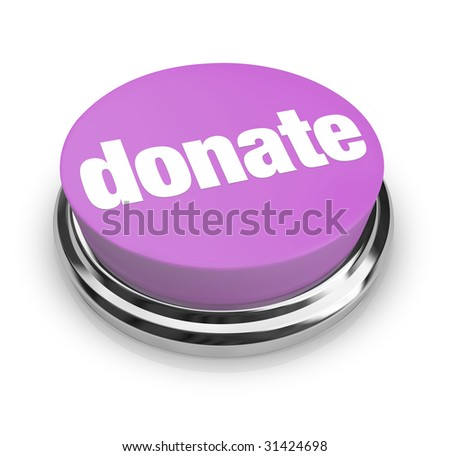 A purple button with the word Donate on it - stock photo