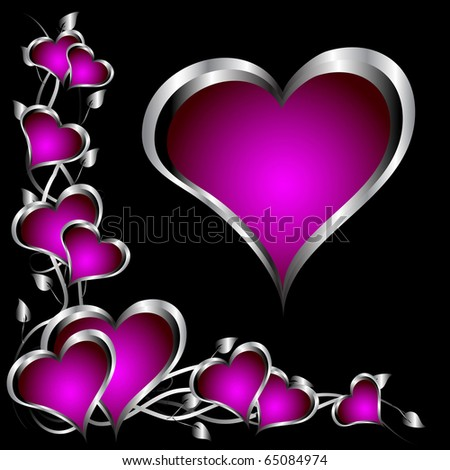 A purple hearts Valentines Day Background with silver hearts and flowers on a black background - stock photo