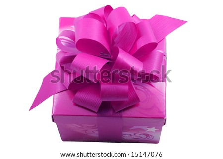 a purple present with a purple ribbon isolated on the white background