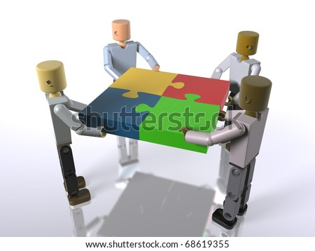 A puzzle built by a team collaborating (video also available) - stock photo