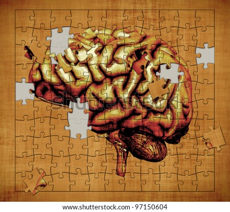 A puzzle features the image of a human brain - depicts the mystery of human consciousness. Digitally manipulated 3d render. - stock photo
