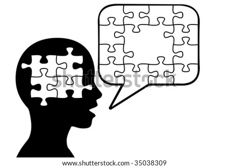 A puzzled silhouette person says a solution in jigsaw puzzle pieces in speech bubble copyspace.
