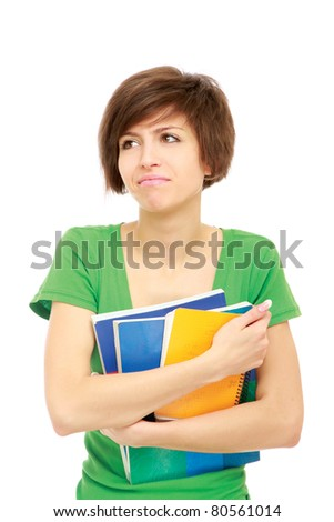 A puzzled student - stock photo