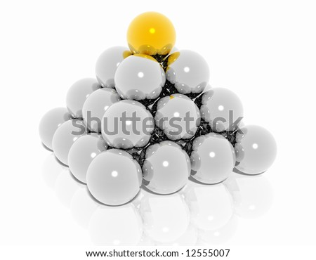A pyramid made from Sphere - stock photo