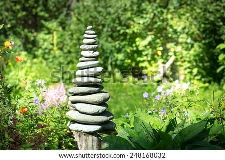 A pyramid of stones - stock photo