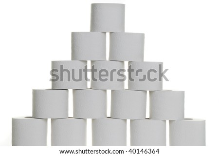 A pyramid of toilet paper on a white background - stock photo