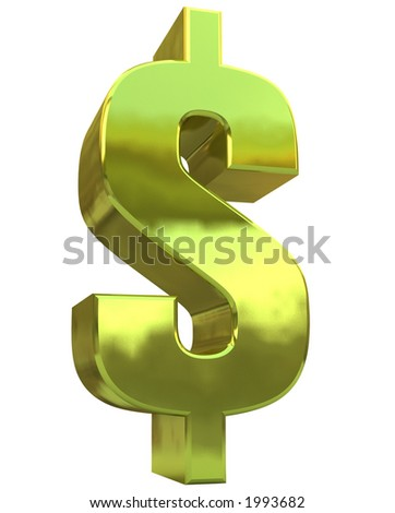 A quality rendered golden Dollar symbol against a white background - stock photo