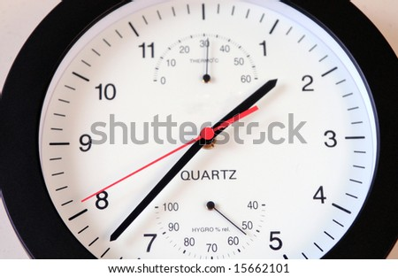 A quartz clock with a hydrometer.