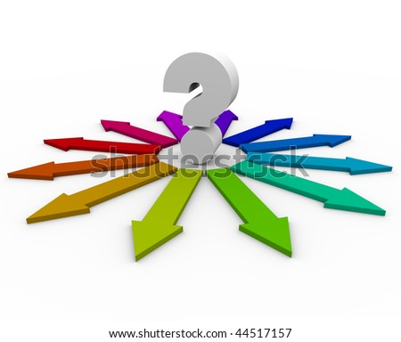 A question mark at the center of many colorful arrows representing different answers