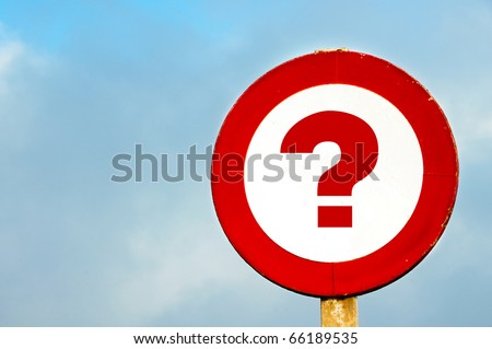 a question mark drawn in a traffic sign - stock photo