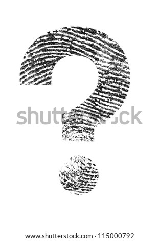 A Question mark made of a real fingerprint. - stock photo