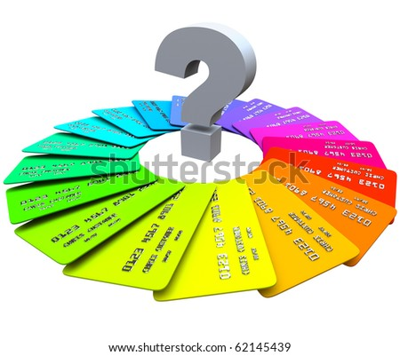 A question mark sits in the middle of a spiral pattern of colorful credit cards