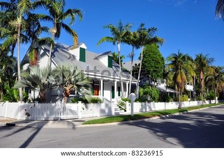 A Quiet Residential Street In Key West, Fl. - stock photo