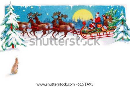 A rabbit watches Santa, reindeer and sleigh on Christmas Eve - circa 1915 illustration - area for type - stock photo