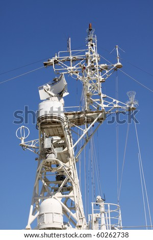 A radar and communication system on a warship - stock photo