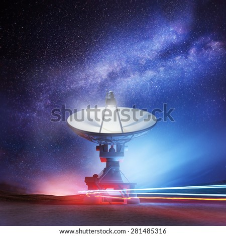 A radio telescope pointing upwards into the night sky. Astronomy background. Illustration. - stock photo