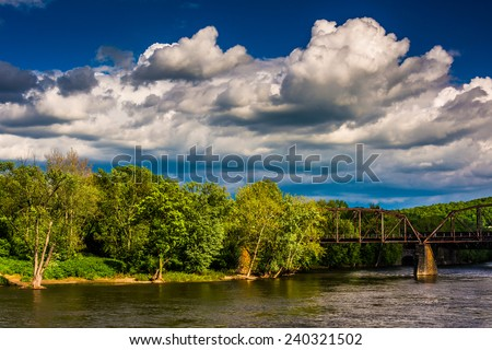 A railroad bridge over the Delaware River in Easton, Pennsylvania. - stock photo