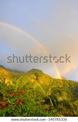A rainbow after a tropical storm in the caribbean. - stock photo