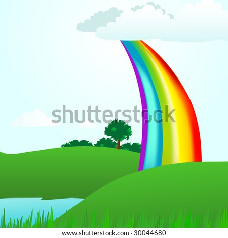 A rainbow arches into a summer park. Featuring grass, trees and a lake this is the perfect summer day landscape illustration. - stock photo