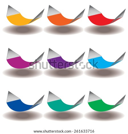 A Rainbow of Nine hammocks for Print or Web - stock photo