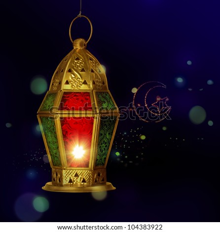 A ramadan lantern against tiny electric light background. - stock photo