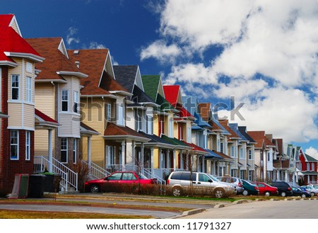A range of standard American middle-class houses - stock photo