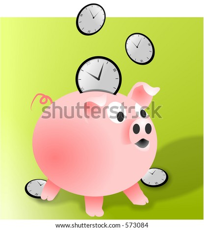 A rasterized vector drawing of a money-box which is being filled with clocks, as in saving time.