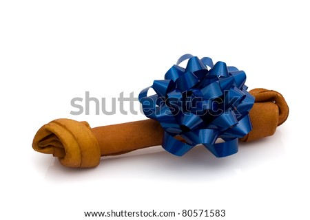 A rawhide dog bone with a blue blow isolated on white, doggy treat - stock photo