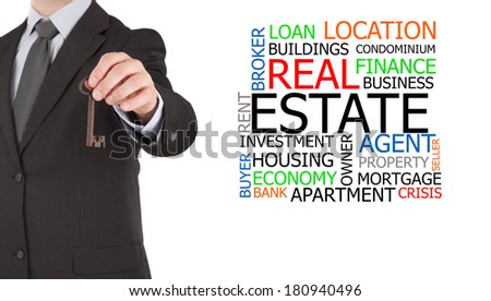 A real estate agent handing next to a real estate word cloud - stock photo