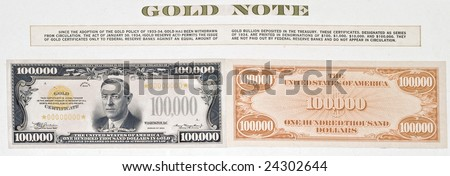 a real framed United States hundred thousand dollar bill, with information, largest denomination ever printed but has never been in circulation - stock photo