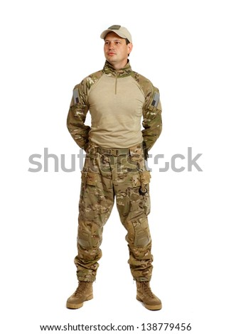 A real U.S. Army Soldier, Sergeant. Isolated. This is one of the desert uniforms worn in the Iraq war.