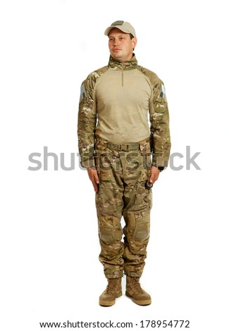 A real U.S. Army Soldier, Sergeant. Isolated. This is one of the desert uniforms worn in the Iraq war.  - stock photo