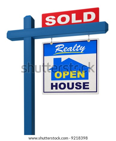 A realestate sign showing the house as sold on a white background - stock photo
