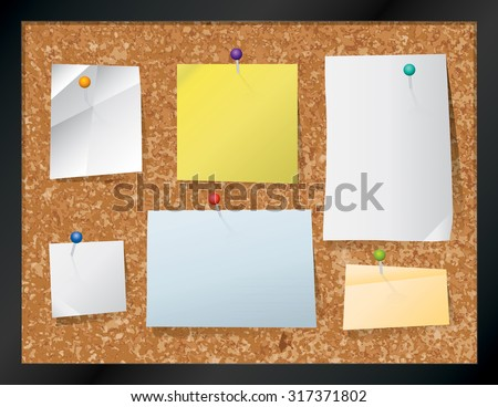 A realistic cork bulletin board with pinned pieces of paper. - stock photo