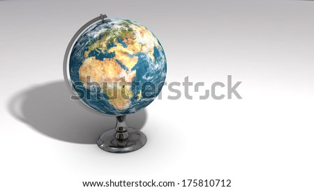 A realistic globe on a chrome pedestal over white featuring Europe, Africa and the Middle East.  Some elements of this image furnished by NASA. - stock photo