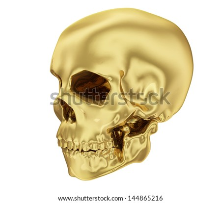 A realistic golden human skull isolated on white (series).The rendering has even tiny scratches.
