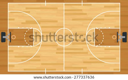 A realistic hardwood textured basketball court.
