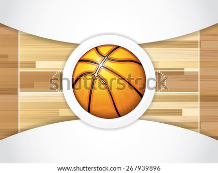 A realistic hardwood textured basketball court with basketball in the center court - stock photo