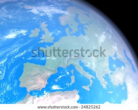 A realistic image of the earth from space with clouds, atmosphere and natural colors for the continents. The center of the view is Europe. The image is a rendered 3d scene.