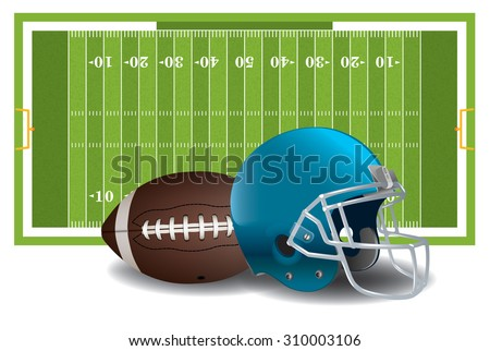 A realistic textured American football field, ball, and helmet isolated on a white background illustration. - stock photo