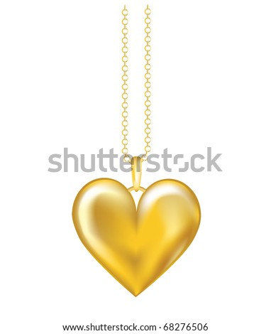 A realistic vector illustration of a gold locket on chain. Isolated on white background. Also available in vector format. - stock photo