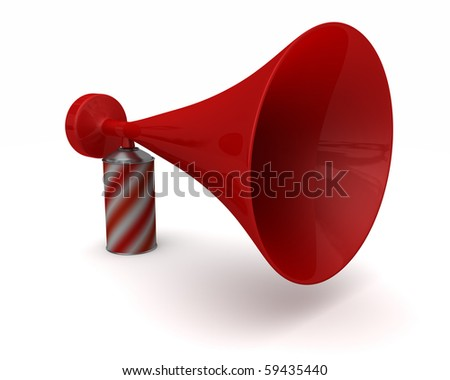 A really big oversized novelty air horn isolated on white - stock photo