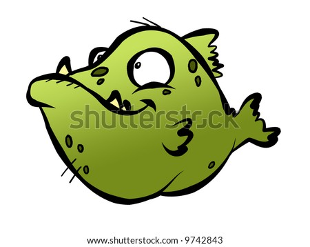 A really ugly green fish with ugly teeth and ugly spots. - stock photo