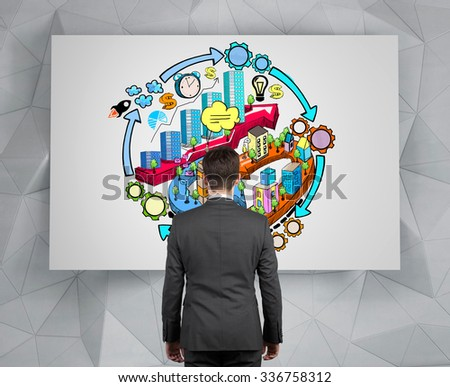 A rear view of a businessman who is looking at the whiteboard with colourful sketch of city development concept. - stock photo
