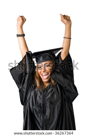 A recent graduate posing in her cap and gown isolated over white.  Clipping path included. - stock photo