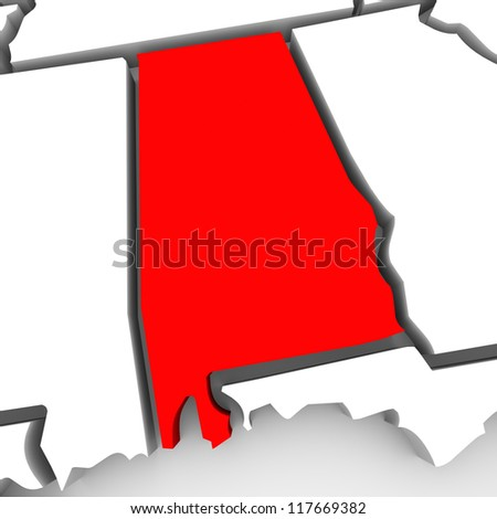 A red abstract state map of Alabama, a 3D render symbolizing targeting the state to find its outlines and borders - stock photo