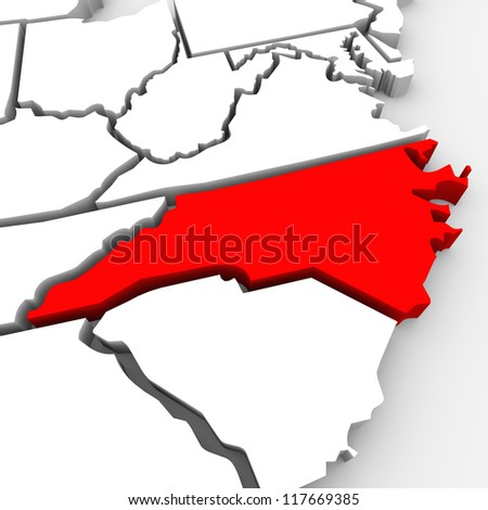 A red abstract state map of North Carolina, a 3D render symbolizing targeting the state to find its outlines and borders