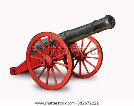 A red and black cannon isolated in white background. - stock photo