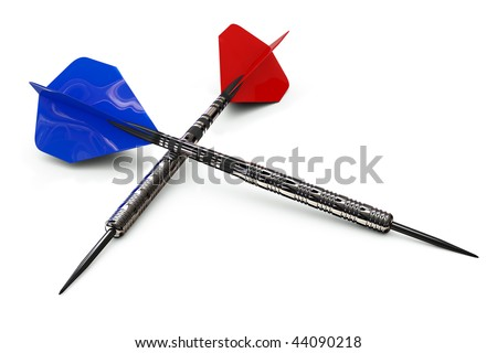 A red and blue dart isolated on white including a clipping path - stock photo