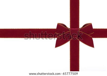 A red and gold velveteen ribbon